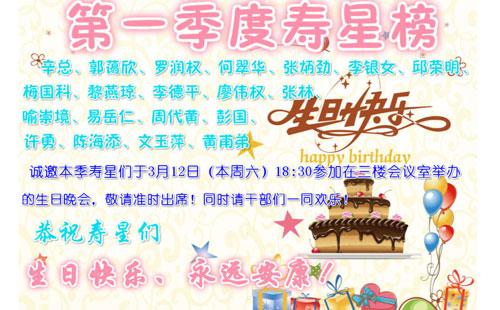 鑫发第一季度生日晚会寿星榜